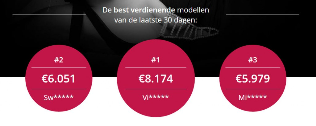 Top verdiensten van webcammodellen